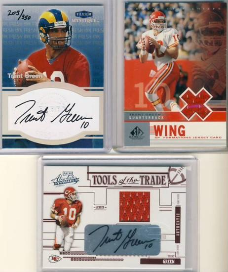 fb18a84eb2d Trent Green - 1999 Fleer Mystique Fresh Ink #16 /350. Trent Green - 2003 SP Game  Used Edition Formations Wing #TG /750*
